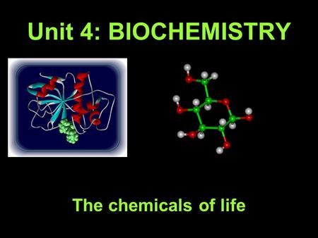 Unit 4: BIOCHEMISTRY The chemicals of life. A. Atoms 1. Made of 3 Particles: a. _________ - located in the _________ _________ charge; determine the element.