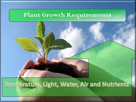 Plant Growth Requirements Temperature, Light, Water, Air and Nutrients