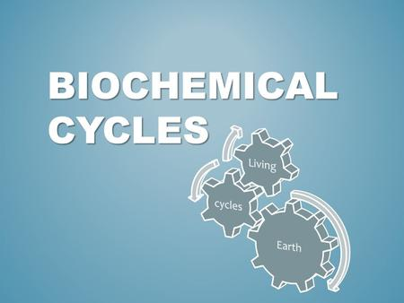 BioChemical Cycles Earth cycles Living.