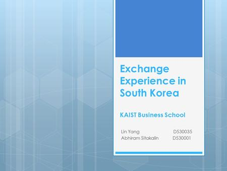 Exchange Experience in South Korea KAIST Business School Lin Yang D530035 Abhiram Sitakalin D530001.