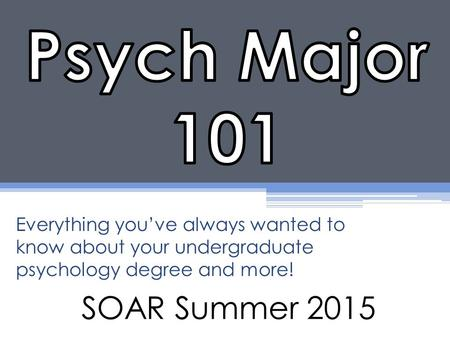 SOAR Summer 2015 Everything you've always wanted to know about your undergraduate psychology degree and more!