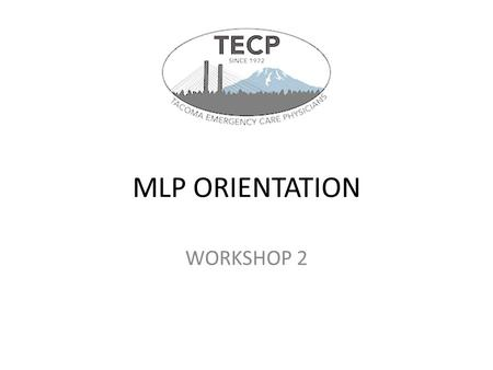 MLP ORIENTATION WORKSHOP 2.