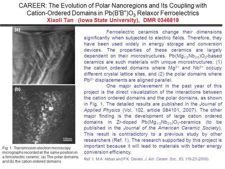 CAREER: The Evolution of Polar Nanoregions and Its Coupling with Cation-Ordered Domains in Pb(B'B'')O 3 Relaxor Ferroelectrics Xiaoli Tan (Iowa State University),