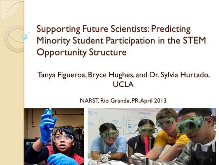 Supporting Future Scientists: Predicting Minority Student Participation in the STEM Opportunity Structure Tanya Figueroa, Bryce Hughes, and Dr. Sylvia.