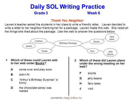 Grade 3Week 6 Daily SOL Writing Practice provided by Simply Achieve, Inc. Thank You Neighbor Lauren's teacher asked the students in her class to write.