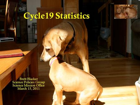Cycle19 Statistics Brett Blacker Science Policies Group Science Mission Office March 15, 2011.