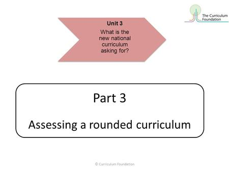 © Curriculum Foundation Part 3 Assessing a rounded curriculum Unit 3 What is the new national curriculum asking for?