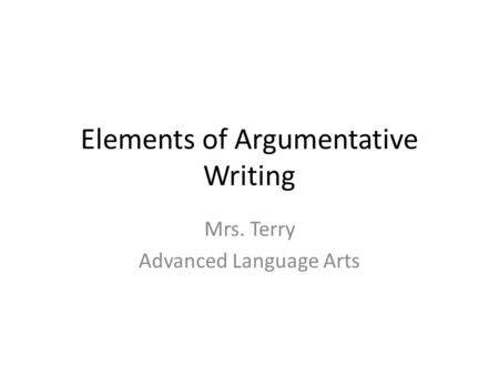 argumentative essay elements