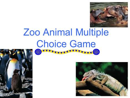 Zoo Animal Multiple Choice Game. Directions This is a multiple choice game. The point of the game is to match the correct multiple choice answer with.