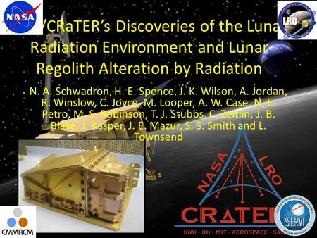 LRO/CRaTER's Discoveries of the Lunar Radiation Environment and Lunar Regolith Alteration by Radiation N. A. Schwadron, H. E. Spence, J. K. Wilson, A.