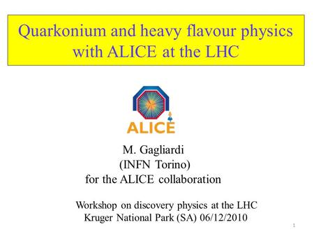 Quarkonium and heavy flavour physics with ALICE at the LHC M. Gagliardi (INFN Torino) for the ALICE collaboration 1 Workshop on discovery physics at the.
