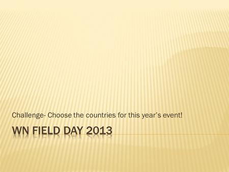 Challenge- Choose the countries for this year's event!