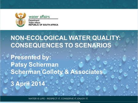 NON-ECOLOGICAL WATER QUALITY: CONSEQUENCES TO SCENARIOS Presented by: Patsy Scherman Scherman Colloty & Associates 3 April 2014.