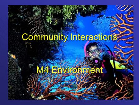 Community Interactions M4 Environment. Community Interactions  There are 3 basic types of interactions: CompetitionCompetition PredationPredation SymbiosisSymbiosis.