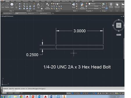 dsdfsa Zoomed in view… Fasteners Assignment Part C: 3/8-16 UNC-2A 1.5 FLAT HEAD.