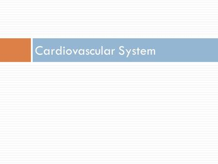 Cardiovascular System.  Main function: Transportation  Blood = transport vehicle  Heart = pump  Blood vessels = network of tubes.