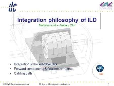 1 ILD/CMS Engineering Meeting M. Joré – ILD integration philosophy Integration philosophy of ILD Matthieu Joré – January 21st Integration of the subdetectors.