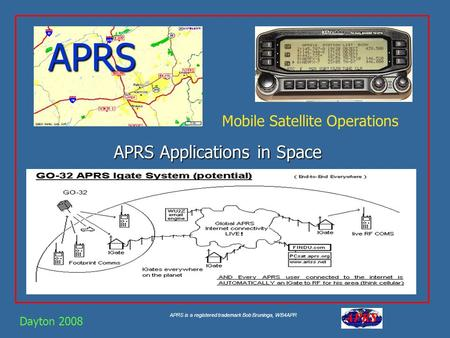 APRS is a registered trademark Bob Bruninga, WB4APR APRS APRS Applications in Space Dayton 2008 Mobile Satellite Operations.