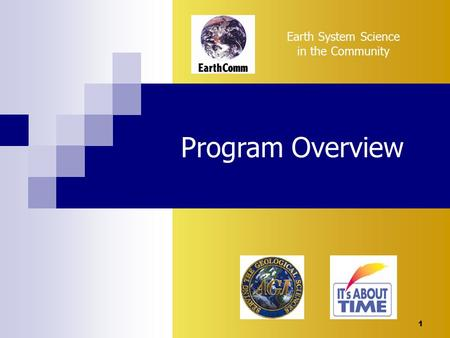 1 Earth System Science in the Community Program Overview.