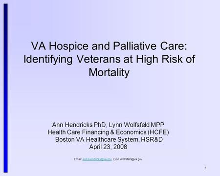1 VA Hospice and Palliative Care: Identifying Veterans at High Risk of Mortality Ann Hendricks PhD, Lynn Wolfsfeld MPP Health Care Financing & Economics.