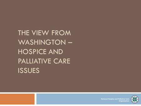 THE VIEW FROM WASHINGTON – HOSPICE AND PALLIATIVE CARE ISSUES.