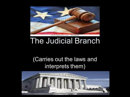 The Judicial Branch (Carries out the laws and interprets them)