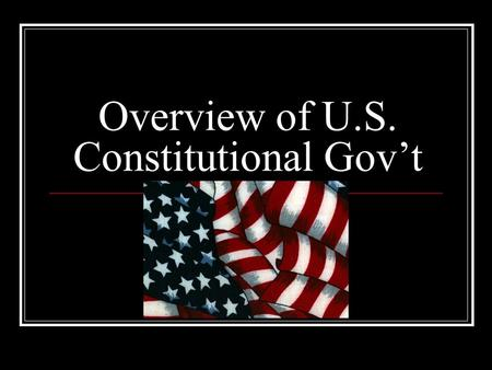 Overview of U.S. Constitutional Gov't. Articles and Amendments U.S. Constitution consists of: 7 Articles – Art 1 Legis Branch Art 2 Exec Branch Art 3.