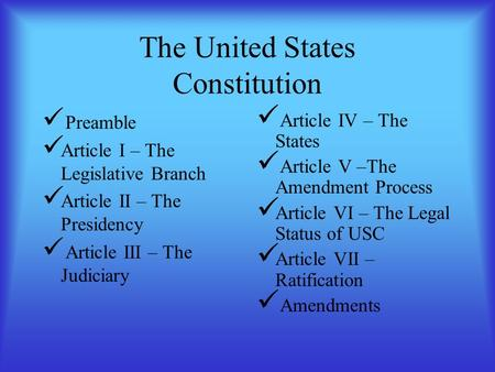 The United States Constitution Preamble Article I – The Legislative Branch Article II – The Presidency Article III – The Judiciary Article IV – The States.