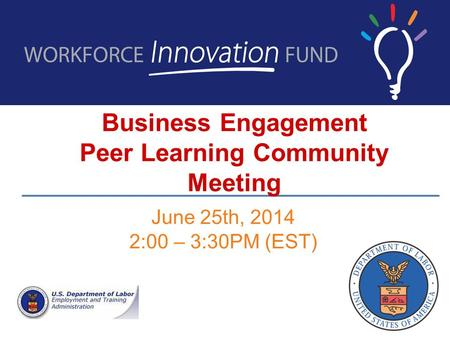 Business Engagement Peer Learning Community Meeting June 25th, 2014 2:00 – 3:30PM (EST)