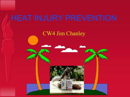 HEAT INJURY PREVENTION CW4 Jim Chanley. REFERENCES AR 40-5 FM 21-20-1 FM 1-301 FM 21-76.
