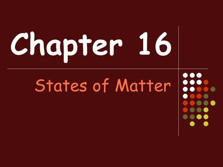 Chapter 16 States of Matter. Sec. 1: Kinetic Theory Kinetic Theory—an explanation of how particles in matter behave. There are 3 assumptions of kinetic.