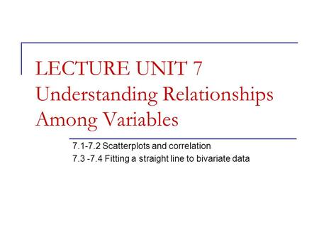 LECTURE UNIT 7 Understanding Relationships Among Variables 7.1-7.2 Scatterplots and correlation 7.3 -7.4 Fitting a straight line to bivariate data.