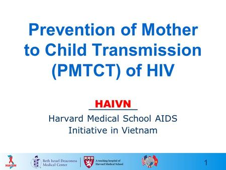 1 Prevention of Mother to Child Transmission (PMTCT) of HIV HAIVN Harvard Medical School AIDS Initiative in Vietnam.
