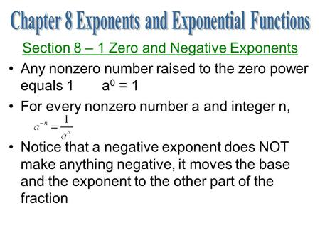 Chapter 8 Exponents and Exponential Functions