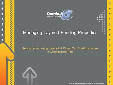 Managing Layered Funding Properties Setting up and using Layered HUD and Tax Credit properties in Management Plus © 2009 Domin-8 Enterprise Solutions LLC.