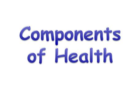 Learning Objectives Know the definitions of Health and fitness Know the different components that make up Health Understand what these components are.