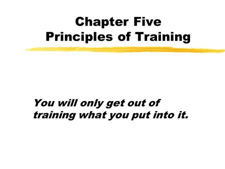 Chapter Five Principles of Training You will only get out of training what you put into it.