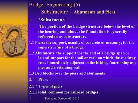 Bridge Engineering (5) Substructure – Abutments and Piers