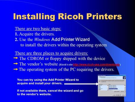 Installing Ricoh Printers There are two basic steps: 1. Acquire the drivers. 2. Use the Windows Add Printer Wizard to install the drivers within the operating.