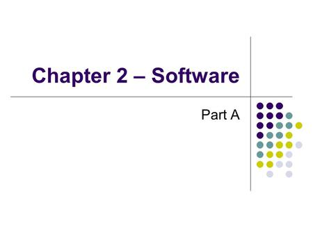 Chapter 2 – Software Part A. Definition Computer is made up of two components Hardware Physical components Software Instructions for the computer Two.