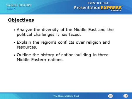 The Modern Middle East Section 4 Analyze the diversity of the Middle East and the political challenges it has faced. Explain the region's conflicts over.
