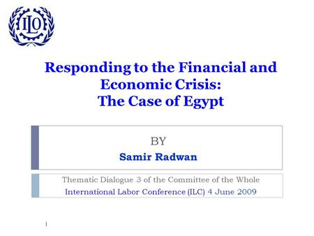 Responding to the Financial and Economic Crisis: The Case of Egypt BY Samir Radwan Thematic Dialogue 3 of the Committee of the Whole International Labor.
