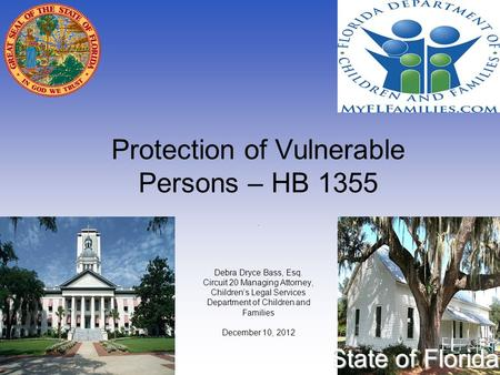 Protection of Vulnerable Persons – HB 1355 State of Florida. Debra Dryce Bass, Esq. Circuit 20 Managing Attorney, Children's Legal Services Department.
