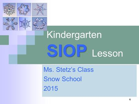 SIOP Kindergarten SIOP Lesson Ms. Stetz's Class Snow School 2015 1.