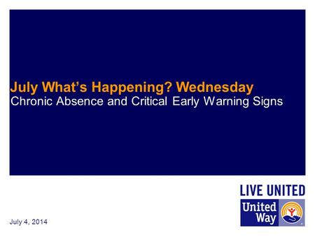 July 4, 2014 July What's Happening? Wednesday Chronic Absence and Critical Early Warning Signs.