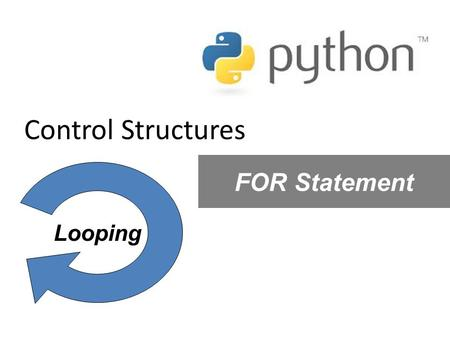 Control Structures FOR Statement Looping.