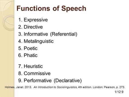 Functions of Speech 1. Expressive 2. Directive 3. Informative (Referential) 4. Metalinguistic 5. Poetic 6. Phatic 7. Heuristic 8. Commissive 9. Performative.