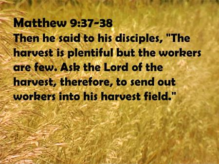 Matthew 9:37-38 Then he said to his disciples, The harvest is plentiful but the workers are few. Ask the Lord of the harvest, therefore, to send out workers.
