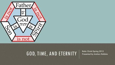 GOD, TIME, AND ETERNITY Ratio Christi Spring 2015 Presented by Andrew Robbins.