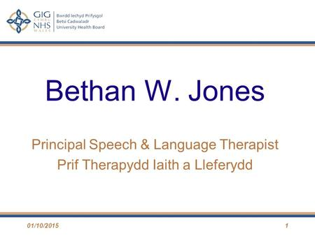 Bethan W. Jones Principal Speech & Language Therapist